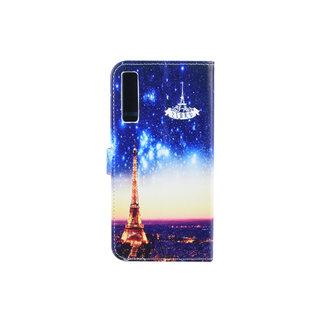 Samsung Galaxy A7 (2018) Pasjeshouder Print Booktype hoesje - Magneetsluiting - Kunststof;TPU
