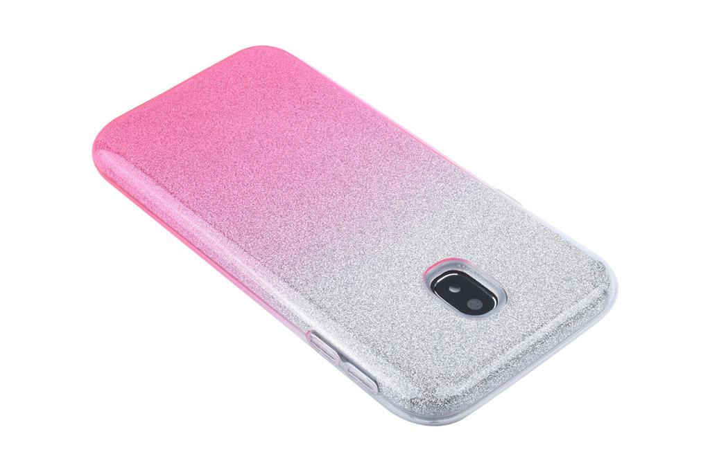 Andere merken Kleurovergang Roze Glitter TPU Achterkant voor Samsung Galaxy J3 (2017) -Zacht en duurzaam - TPU