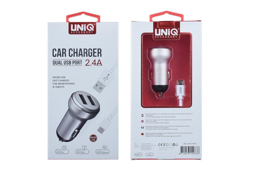 UNIQ Accessory Autolader van Opladers Micro 2 USB -(EU Garantie)  Zilver