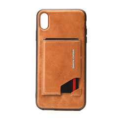 Pierre Cardin back cover for iPhone XR - Brown