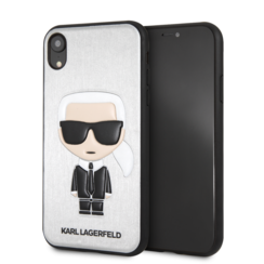 Karl Lagerfeld backcover voor Apple iPhone XR - Zilver