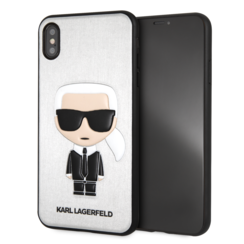 Karl Lagerfeld backcover voor Apple iPhone Xs Max - Zilver