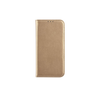 Samsung Galaxy A6 (2018) Pasjeshouder Goud Booktype hoesje - Magneetsluiting - Kunststof;TPU