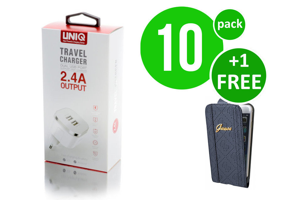 UNIQ Accessory 10 x Micro USB 2.4A thuislader van UNIQ Accessory  (+Free iPhone 6 Plus Case van Guess-3700740350034)