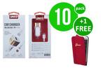 UNIQ Accessory 10 x Autolader Micro USB 2.4A van UNIQ Accessory (+Gratis iPhone 6 Plus Case van Guess-3700740349731)