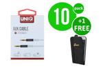 UNIQ Accessory 10 x Stereo AUX Cable van UNIQ Accesory (+Gratis iPhone 6 Case van Guess-3700740352601)