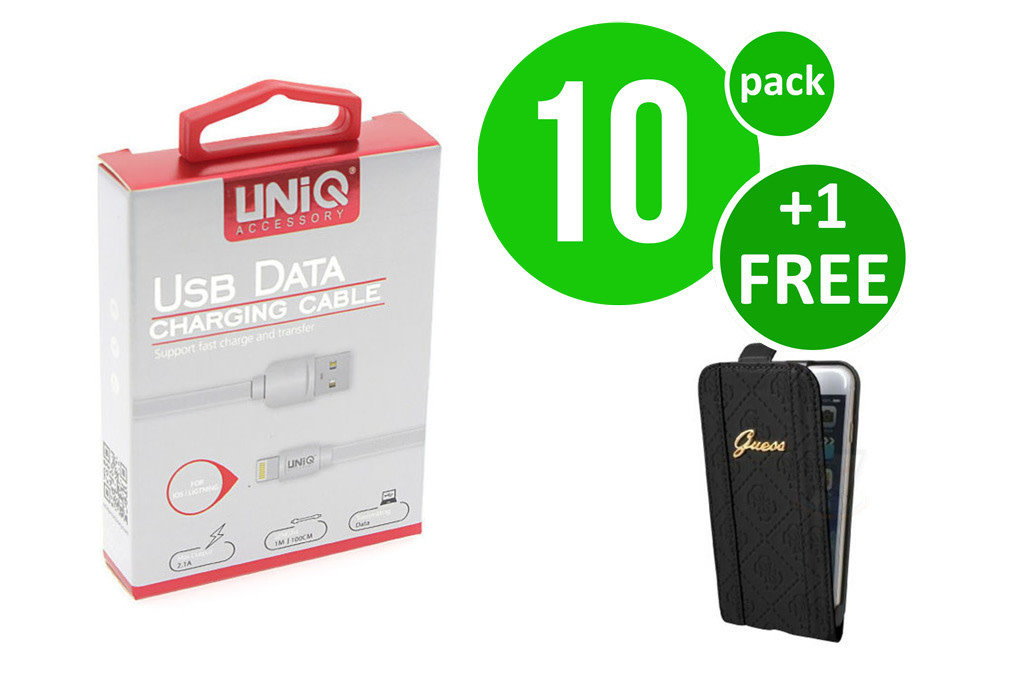 UNIQ Accessory 10 x Apple Lightning fast charging kabel van UNIQ Accessory (+Gratis iPhone 6 Case van Guess-3700740352601)