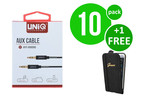 UNIQ Accessory 10 x Audiokabel Anti-Winding AUX van UNIQ Accesory (+Gratis iPhone 6 Case van Guess-3700740352601)