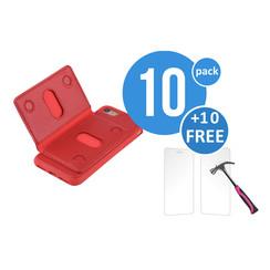 10 x Backcover voor Apple iPhone 7/8 - Rood - van UNIQ Accessory (+10 x Free Screenprotectors! 8719273251942)