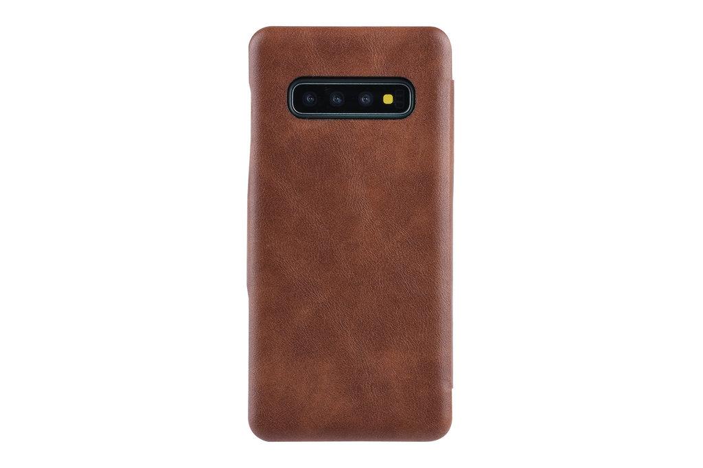 UNIQ Accessory Samsung Galaxy S10 Pasjeshouder Bruin Booktype hoesje - Magneetsluiting - Kunststof;TPU