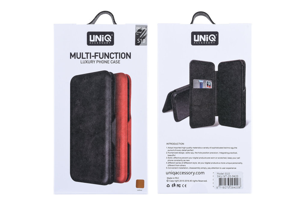 UNIQ Accessory Samsung Galaxy S10 Card holder Brown Book type case for Galaxy S10 Magnetic closure