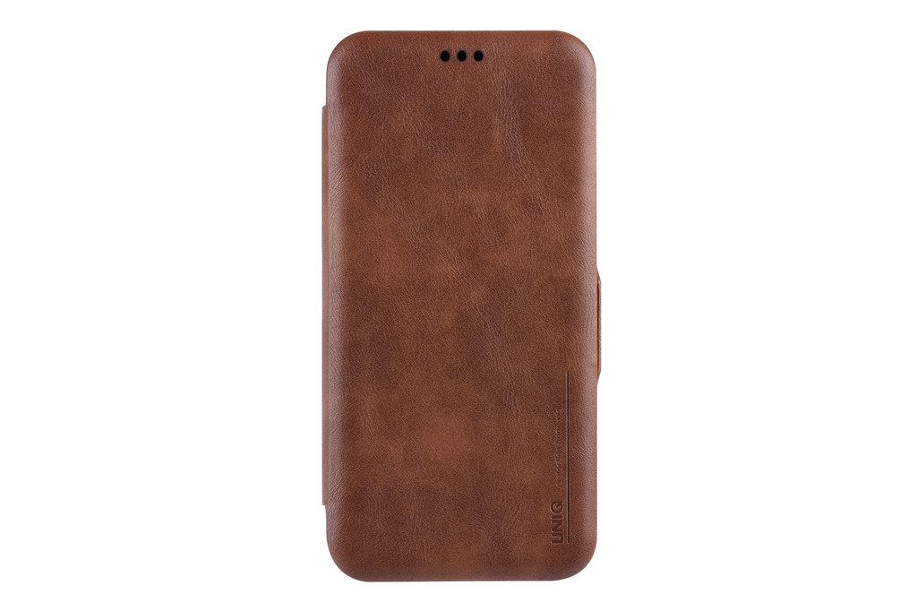 UNIQ Accessory Samsung Galaxy S9 Plus Pasjeshouder Bruin Booktype hoesje - Magneetsluiting - Kunststof;TPU