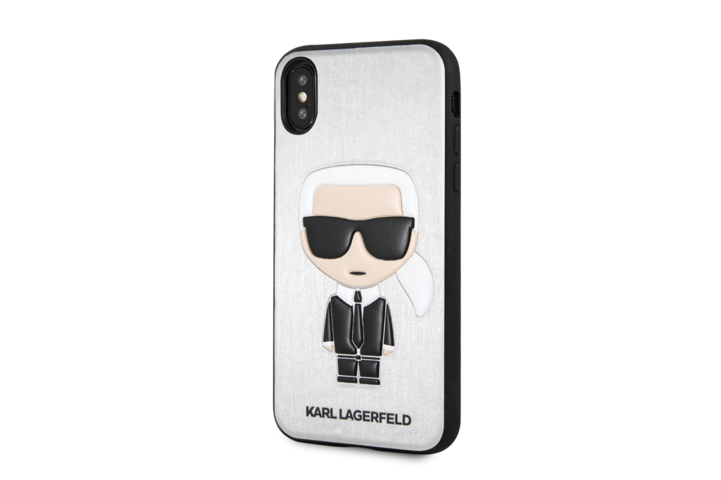 Karl Lagerfeld Karl Lagerfeld backcover voor Apple iPhone X-Xs - Silver