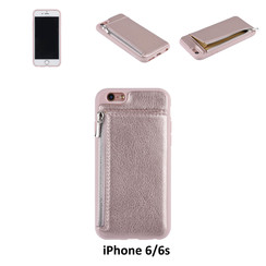 UNIQ Accessory iPhone 6 Kunstleer Backcover hoesje met rits - Roze