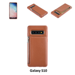 UNIQ Accessory Galaxy S10 Kunstleer Backcover hoesje met rits - Bruin