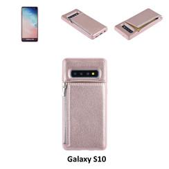 UNIQ Accessory Galaxy S10 Kunstleer Backcover hoesje met rits - Roze