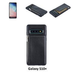 UNIQ Accessory Galaxy S10 Plus Kunstleer Backcover hoesje met rits - Zwart