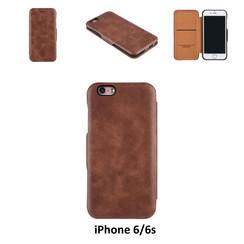 Apple iPhone 6/6s Pasjeshouder Bruin Booktype hoesje - Magneetsluiting - Kunststof;TPU