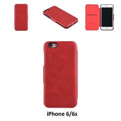 Apple iPhone 6/6s Pasjeshouder Rood Booktype hoesje - Magneetsluiting - Kunststof;TPU