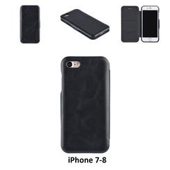 Apple iPhone 7;iPhone 8 Titulaire de la carte Noir Book type housse - Fermeture magnétique