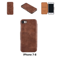 Apple iPhone 7;iPhone 8 Titulaire de la carte Marron Book type housse - Fermeture magnétique