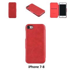 Apple iPhone 7;iPhone 8 Titulaire de la carte Rouge Book type housse - Fermeture magnétique