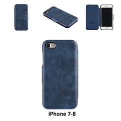 Apple iPhone 7;iPhone 8 Titulaire de la carte Bleu Book type housse - Fermeture magnétique