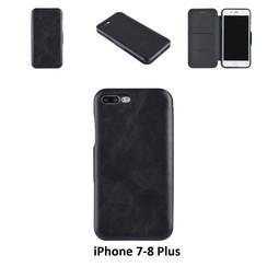 Apple iPhone 7-8 Plus Titulaire de la carte Noir Book type housse - Fermeture magnétique