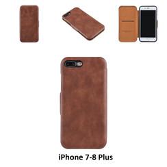 Apple iPhone 7 Plus;iPhone 8 Plus Pasjeshouder Bruin Booktype hoesje - Magneetsluiting - Kunststof;TPU