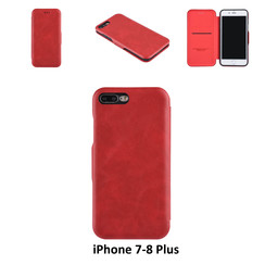 Apple iPhone 7 Plus;iPhone 8 Plus Card holder Red Book type case for iPhone 7 Plus;iPhone 8 Plus Magnetic closure