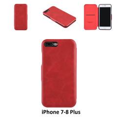 Apple iPhone 7 Plus;iPhone 8 Plus Pasjeshouder Rood Booktype hoesje - Magneetsluiting - Kunststof;TPU