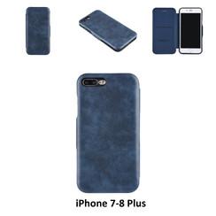 Apple iPhone 7 Plus;iPhone 8 Plus Titulaire de la carte Bleu Book type housse - Fermeture magnétique