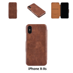 Apple iPhone X;iPhone Xs Card holder Brown Book type case for iPhone X;iPhone Xs Magnetic closure