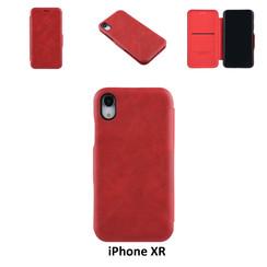 Apple iPhone XR Titulaire de la carte Rouge Book type housse - Fermeture magnétique