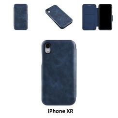 Apple iPhone XR Titulaire de la carte Bleu Book type housse - Fermeture magnétique