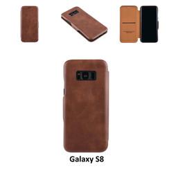 Samsung Galaxy S8 Pasjeshouder Bruin Booktype hoesje - Magneetsluiting - Kunststof;TPU