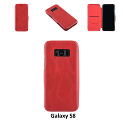 Samsung Galaxy S8 Pasjeshouder Rood Booktype hoesje - Magneetsluiting - Kunststof;TPU