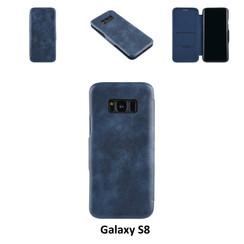 Samsung Galaxy S8 Pasjeshouder Blauw Booktype hoesje - Magneetsluiting - Kunststof;TPU