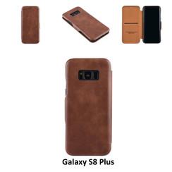 Samsung Galaxy S8 Plus Pasjeshouder Bruin Booktype hoesje - Magneetsluiting - Kunststof;TPU