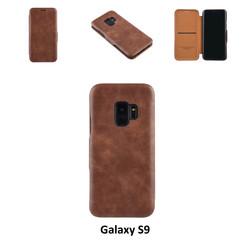 Samsung Galaxy S9  Titulaire de la carte Marron Book type housse - Fermeture magnétique