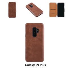Samsung Galaxy S9 Plus Pasjeshouder Bruin Booktype hoesje - Magneetsluiting - Kunststof;TPU