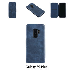 Samsung Galaxy S9 Plus Pasjeshouder Blauw Booktype hoesje - Magneetsluiting - Kunststof;TPU