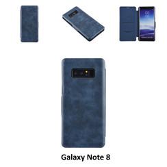 Samsung Galaxy Note8 Pasjeshouder Blauw Booktype hoesje - Magneetsluiting - Kunststof;TPU
