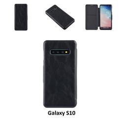 Samsung Galaxy S10 Pasjeshouder Zwart Booktype hoesje - Magneetsluiting - Kunststof;TPU