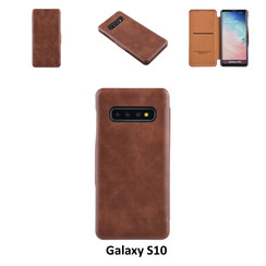 Samsung Galaxy S10 Pasjeshouder Bruin Booktype hoesje - Magneetsluiting - Kunststof;TPU