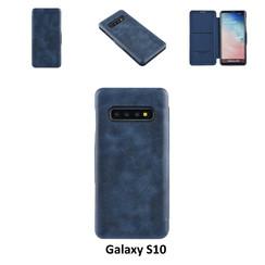 Samsung Galaxy S10 Titulaire de la carte Bleu Book type housse - Fermeture magnétique
