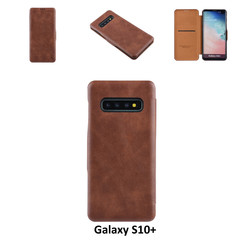 Samsung Galaxy S10+ Pasjeshouder Bruin Booktype hoesje - Magneetsluiting - Kunststof;TPU