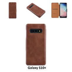 Samsung Galaxy S10+ Titulaire de la carte Marron Book type housse - Fermeture magnétique