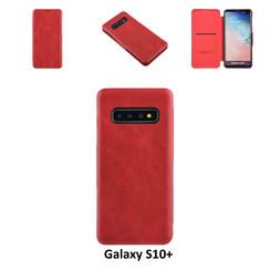 Samsung Galaxy S10+ Titulaire de la carte Rouge Book type housse - Fermeture magnétique