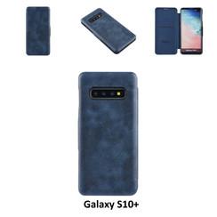 Samsung Galaxy S10+ Pasjeshouder Blauw Booktype hoesje - Magneetsluiting - Kunststof;TPU